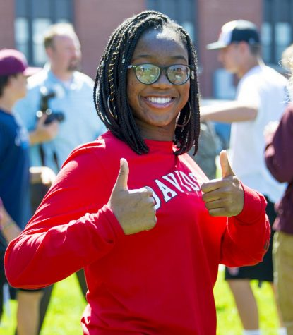 Valedictorian Chineme Amechi, pictured in her Davidson College school sweatshirt
